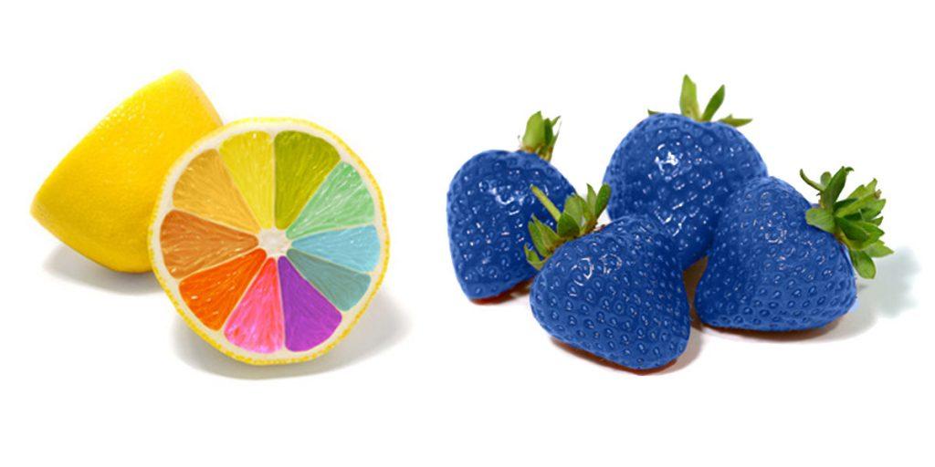 double or nothing: Bunte Zitronen und blaue Erdbeeren