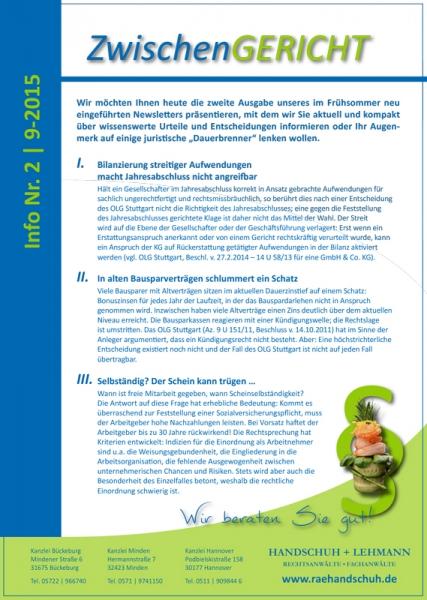 Flyer - Newsletter Zwischengericht